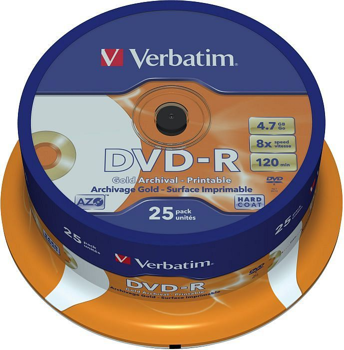 Verbatim DVD-R Gold Archival 4.7GB 8x, 25er Spindel printable (43634)