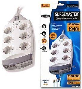 Belkin SurgeMaster 6-fach mit Telefon-Schutz, Kabellänge 200cm (F9S620de2M)