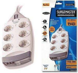 Belkin SurgeMaster 6-fach mit Telefon-Schutz, Kabellänge 400cm (F9S620de4M)