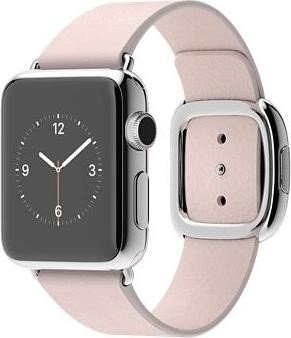 Apple Watch Series 1 38mm mit modernem Lederarmband Medium silber/pink (MJ372FD)