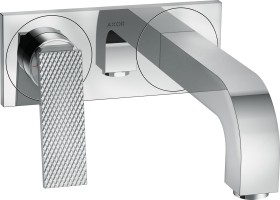 Hansgrohe AXOR Citterio 2 holes bathroom sink tap with lever handles, plate and diamond cut 220mm chrome (39171000)