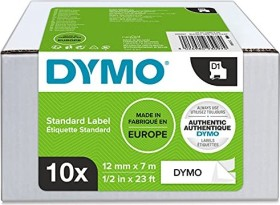 Dymo ID1 permanent Industrial Rhino Pro label-making tape 12mm, black/white, 10-pack (2093097)