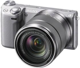 Sony Alpha NEX-5R silber mit Objektiv AF E 18-55mm 3.5-5.6 OSS (NEX-5RKS)