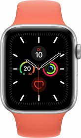Apple Watch Series 5 (GPS + Cellular) 44mm Aluminium silber mit Sportarmband Clementine
