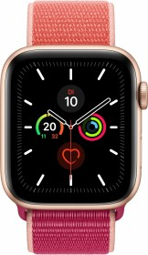Apple Watch Series 5 (GPS + Cellular) 44mm Aluminium gold mit Sport Loop Granatapfel