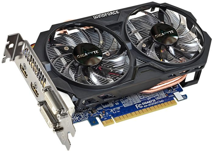 Gigabyte GeForce GTX 750 Ti WindForce 2X OC (1033MHz), 2GB GDDR5, 2x DVI, 2x HDMI (GV-N75TOC-2GI)