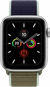 Apple Watch Series 5 (GPS + Cellular) 44mm Aluminium silber mit Sport Loop khaki
