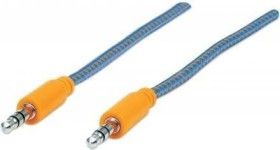 Manhattan Audiokabel mit Stoffummantelung 3.5mm Klinke Kabel 1m blau/orange (352802)