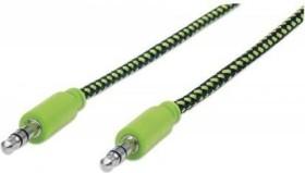 Manhattan Audiokabel mit Stoffummantelung 3.5mm Klinke Kabel 1.8m schwarz/grün (352840)