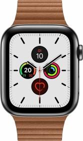 Apple Watch Series 5 (GPS + Cellular) 44mm Edelstahl space schwarz mit Lederarmband mit Schlaufe sattelbraun