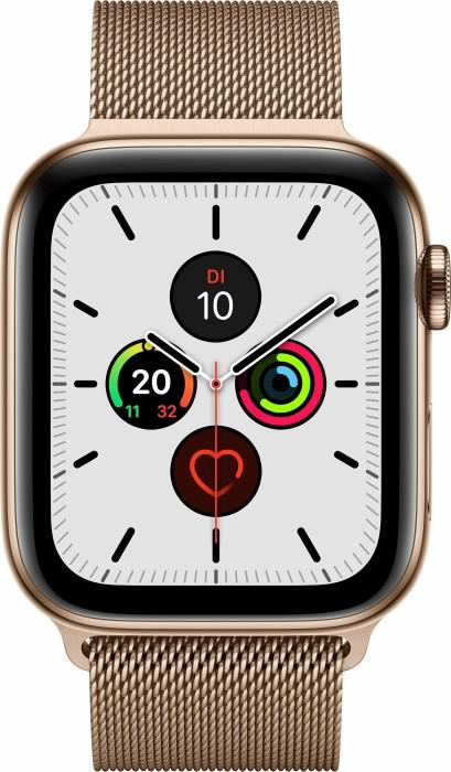 Apple Watch Series 5 (GPS + Cellular) 44mm Edelstahl gold mit Milanaise-Armband gold (MWWJ2FD)