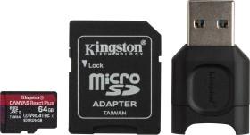Kingston Canvas React Plus R285/W165 microSDXC 64GB kit, UHS-II U3, A1, Class 10 (MLPMR2/64GB)