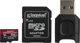 Kingston Canvas React Plus R285/W165 microSDXC 256GB kit, UHS-II U3, A1, Class 10 (MLPMR2/256GB)