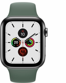 Apple Watch Series 5 (GPS + Cellular) 44mm Edelstahl space schwarz mit Sportarmband piniengrün
