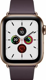 Apple Watch Series 5 (GPS + Cellular) 40mm Edelstahl gold mit modernem Lederarmband aubergine