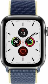 Apple Watch Series 5 (GPS + Cellular) 44mm Edelstahl silber mit Sport Loop alaskablau