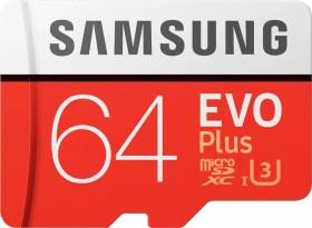 Samsung R100/W60 microSDXC EVO Plus 2017 64GB Kit, UHS-I U3, Class 10 (MB-MC64GA/EU)