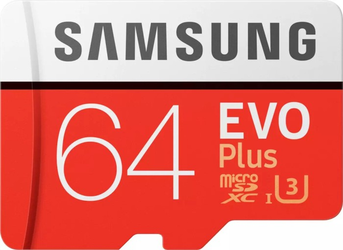 Samsung R100/W60 microSDXC EVO Plus [2017] 64GB kit, UHS-I U3, Class 10 (MB-MC64GA/EU)