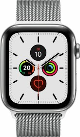 Apple Watch Series 5 (GPS + Cellular) 44mm Edelstahl silber mit Milanaise-Armband silber (MWWG2FD)
