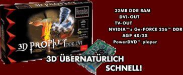 Guillemot / Hercules 3D Prophet DDR-DVI, GeForce, 32MB DDR, AGP