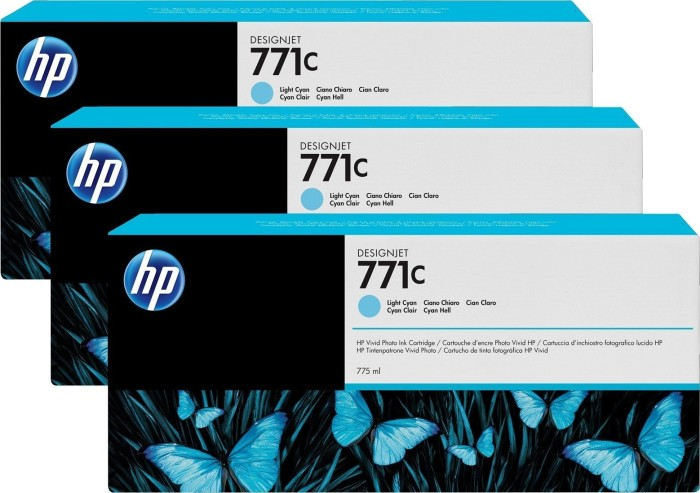 HP ink Nr 771c cyan light, 3-pack (B6Y36A)
