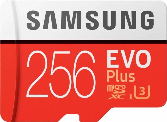 Samsung EVO Plus 2017 R100/W90 microSDXC 256GB Kit, UHS-I U3, Class 10 (MB-MC256GA/EU)