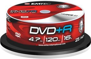 Emtec DVD+R 4.7GB, 25-pack Spindle