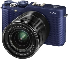 Fujifilm X-A1 blau schwarz mit Objektiv XC 16-50mm und XC 50-230mm (16402016)