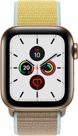 Apple Watch Series 5 (GPS + Cellular) 40mm Edelstahl gold mit Sport Loop kamelbraun