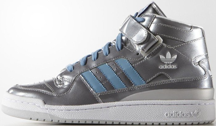 newest c162d 538d1 adidas forum mid blue silver