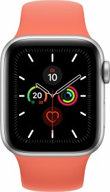 Apple Watch Series 5 (GPS + Cellular) 40mm Aluminium silber mit Sportarmband clementine