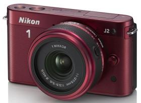 Nikon 1 J2 rot mit Objektiv 11-27.5mm 3.5-5.6 (VVA164K005)