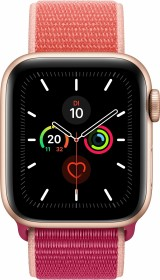 Apple Watch Series 5 (GPS + Cellular) 40mm Aluminium gold mit Sport Loop granatapfel
