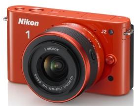 Nikon 1 J2 orange mit Objektiv VR 10-30mm 3.5-5.6 und VR 30-110mm 3.8-5.6 (VVA166K003)