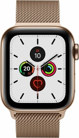 Apple Watch Series 5 (GPS + Cellular) 40mm Edelstahl gold mit Milanaise-Armband gold (MWX72FD)