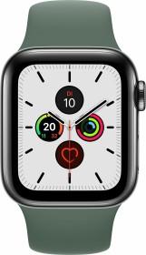 Apple Watch Series 5 (GPS + Cellular) 40mm Edelstahl space schwarz mit Sportarmband piniengrün