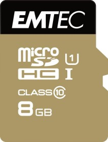 Emtec R85/W16 microSDHC Gold+ 8GB Kit, UHS-I U1, Class 10 (ECMSDM8GHC10GP)