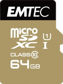 Emtec Gold+ R85/W21 microSDXC 64GB Kit, UHS-I U1, Class 10 (ECMSDM64GXC10GP)