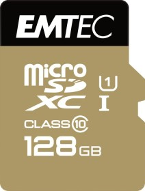 Emtec R85/W21 microSDXC Gold+ 128GB Kit, UHS-I U1, Class 10 (ECMSDM128GXC10GP)
