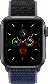 Apple Watch Series 5 (GPS + Cellular) 40mm Aluminium space grau mit Sport Loop mitternachtsblau