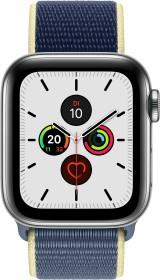 Apple Watch Series 5 (GPS + Cellular) 40mm Edelstahl silber mit Sport Loop alaska blau