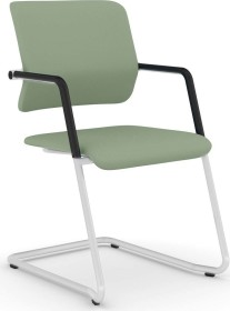 Viasit Drumback Freischwinger telegrau Konferenzstuhl, grau-grün (DB-FS100.7)