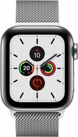 Apple Watch Series 5 (GPS + Cellular) 40mm Edelstahl silber mit Milanaise-Armband silber (MWX52FD)