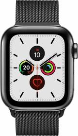 Apple Watch Series 5 (GPS + Cellular) 40mm Edelstahl space schwarz mit Milanaise-Armband space schwarz (MWX92FD)