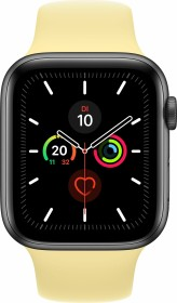 Apple Watch Series 5 (GPS) 44mm Aluminium space grau mit Sportarmband Zitruscreme