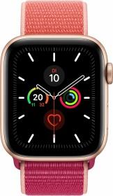 Apple Watch Series 5 (GPS) 44mm Aluminium gold mit Sport Loop Granatapfel