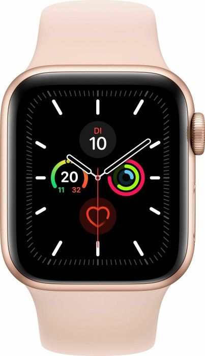 Apple Watch Series 5 (GPS) 44mm Aluminium gold mit Sportarmband sandrosa (MWVE2FD)