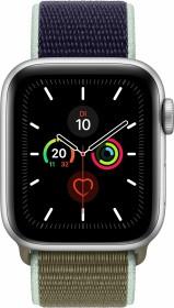 Apple Watch Series 5 (GPS) 40mm Aluminium silber mit Sport Loop khaki