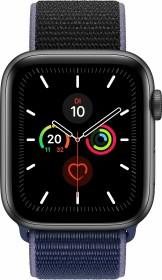 Apple Watch Series 5 (GPS) 44mm Aluminium space grau mit Sport Loop mitternachtsblau