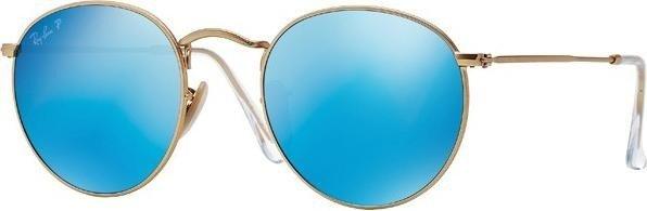 Ray-Ban RB3447 Round Metal 50mm gold polarized blue (112 4L) ab ... 7174d944f32b